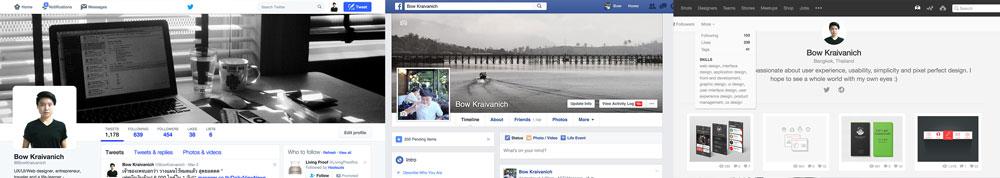 รูปหน้า profile ของ social media ต่างๆ